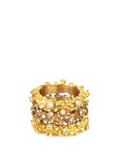 Pintaldi Maurizio | Brushed-gold and diamond ring