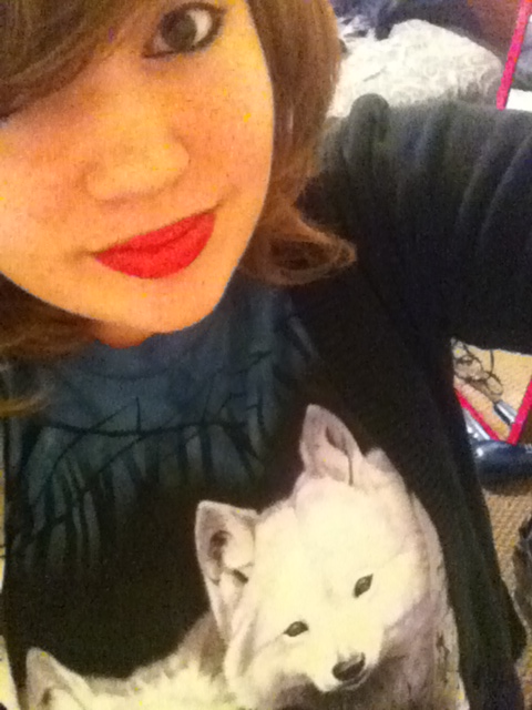 About to go to school. Totally rockin the wolf shirt. Feelin kinda hipster. Oh well.