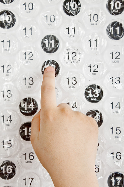 laughingsquid:  A Poster-Sized Bubble Wrap Calendar That You Can Pop Each Day
