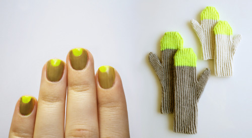 NAILS DID: Reversed Half Moon Nude + Neon Manicure Base: American Apparel Neon Yellow, American Apparel Trenchcoat Inspiration : Purl Soho Paint Pail Mittens