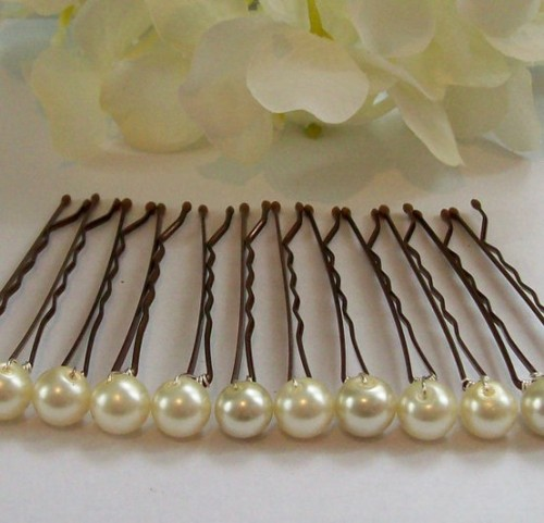 "DIY Pearl Bobby Pins. These were once on Etsy but the link is broken and there is no sign of these particular bobby pins on Etsy. So easy to do - no formal tutorial but you take a pearl bead and wire it around the pin. You can also continue wiring pearls to the top of the pin. *Many of the Etsy sites are selling embellished bobby pins using ""Scunci No Slip Grip Bobby Pins"". Seen at Mostly Waiting here."