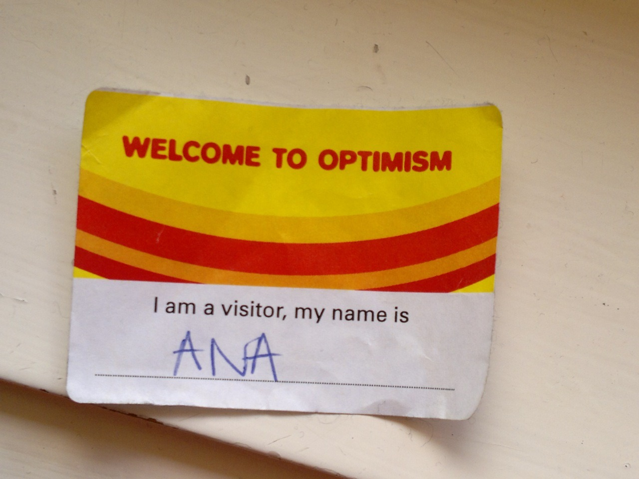 Just found my @W2Optimism name tag from my #HyperIsland interview at @WiedenKennedy London two years ago! In January 2010 I had my recruitment day for Hyper Island at the Wieden Kennedy offices in London, and we had to write our name on a sticker and wear it the whole day. Can't believe it's almost two years since I got accepted to this amazing school, and where a great new journey started.