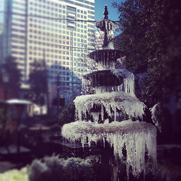 Frozen fountain outside Front Page News #ice #chilly #atlanta #winter (Taken with Instagram at engauge)