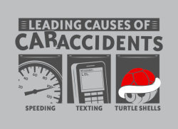 gamefreaksnz:  Leading Causes of Car Accidents T-Shirt USD$19.95 Watch out for banana peels too.