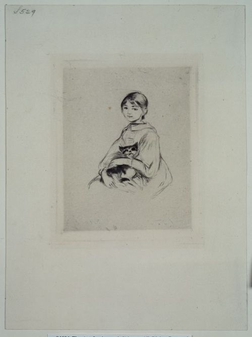 fyeahwomenartists:  Berthe MorisotYoung Girl With a Cat, 1889 Drypoint in black on cream laid paper (via About This Artwork | The Art Institute of Chicago)