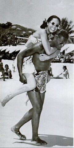 "Nat ""King"" Cole honeymooning with wife Maria in Mexico in 1948. This photo appeared in the April 1965 issue of Ebony which paid tribute to the legend after his untimely death from lung cancer at age 45."