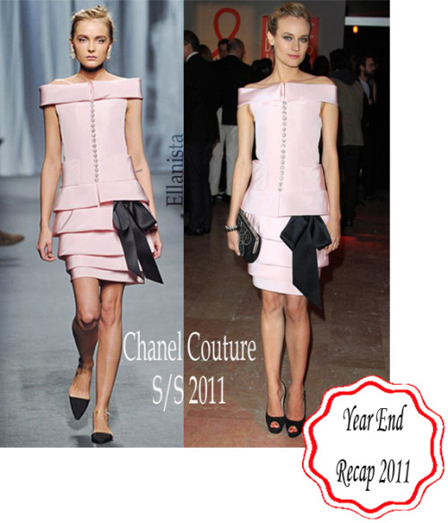 "Red Carpet Fashion Seriously connected Diane Kruger wearing Chanel Haute Couture S/S ""11 {only hours after shown on runway} silk-satin off-the-shoulder dress to the Gala de la Mode Sidaction in Paris. You've arrived when Lagerfeld's on speed dial!"