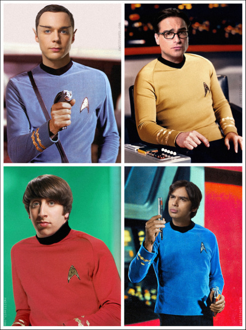 A Star Trek/Big Bang Theory manip by www.rabittooth.com I'd like to see an actual photo project of them with this theme in mind. I think it could be cool. And before you all start writing Howard off as a simple Red Shirt, he is Scotty, who also wore a red shirt.