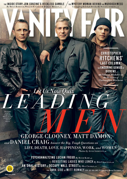 The Misters February. Daniel Craig, George Clooney, and Matt Damon. Photographed by Annie Leibovitz.