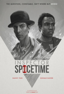 "dubiousmerit:  samspratt:  ""Inspector Spacetime"" - by Sam Spratt NBC's Community may be in a state of potential cancellation, but before I dive deep into my art hole on new year client-projects, I wanted to knock out something fun. If you're not a fan of the show already—get on it. Follow my: portfolio website,  tumblr,  facebook artist's page and twitter.  I would watch this spinoff because who wouldn't?"