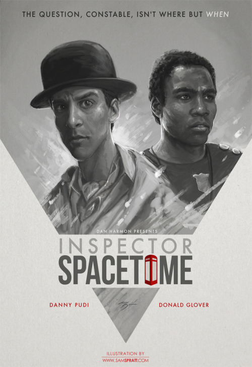 "justinrampage:  Sam Spratt's rad new Community ""Inspector Spacetime"" fan art illustration is now available in print form at his personal Society6 store. POP POP! ""NBC's Community may be in a state of potential cancellation, but before I  dive deep into my art hole on new year client-projects, I wanted to  knock out something fun. If you're not a fan of the show already—get on  it."" - Sam Yvette aka Shirley from Community approves via Twitter. Inspector Spacetime by Sam Spratt (Store) (Facebook) (Twitter) Via: samspratt  Mad love for Community. I feel like I'm being punished by them ""shelving"" it. You know what goes on shelves? Cans! Don't can Community!"