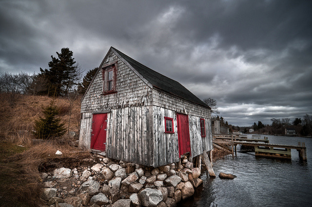 Herring Cove Shack on Flickr.This shack in Herring Cove has so much character. It seems the windows and doors have recently been painted bright red, adding even more contrast.