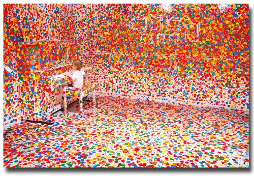 "The nine decades of Yayoi Kusama's life have taken her from rural Japan to the New York art scene to contemporary Tokyo, in a career in which she has continuously innovated and re-invented her style. Well-known for her repeating dot patterns, her art encompasses an astonishing variety of media, including painting, drawing, sculpture, film, performance and immersive installation. It ranges from works on paper featuring intense semi-abstract imagery, to soft sculpture known as ""Accumulations"", to her ""Infinity Net"" paintings, made up of carefully repeated arcs of paint built up into large patterns. Since 1977 Kusama has lived voluntarily in a psychiatric institution, and much of her work has been marked with obsessiveness and a desire to escape from psychological trauma. In an attempt to share her experiences, she creates installations that immerse the viewer in her obsessively charged vision of endless dots and nets or infinitely mirrored space. Yayoi Kusama 9 February  –  5 June 2012Tate Modern"