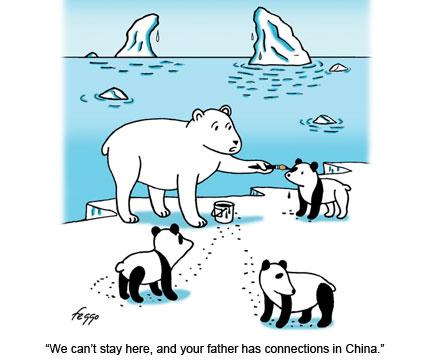 LOL. Polar bears disguising themselves to be pandas so they can leave their falling habitats. :) go polar bears! ^_^