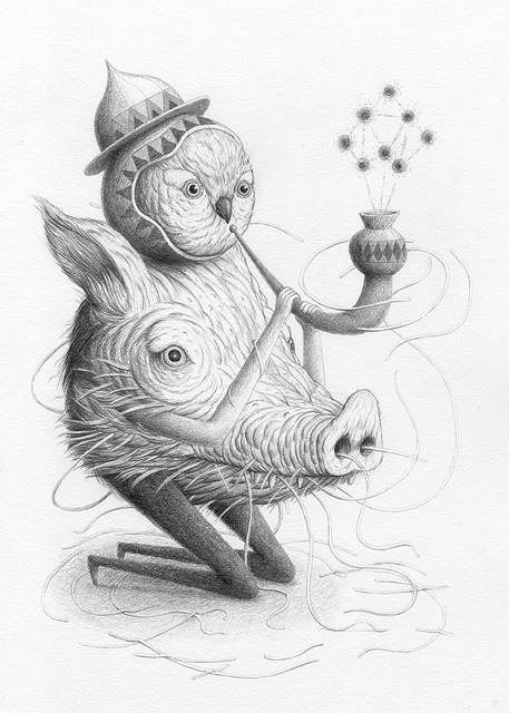 Bird-headed Pig-Bodied Pipe Man by Showchicken on Flickr.