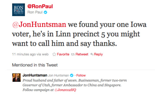 andillbringthediamonds:  Whoever's in charge of Ron Paul's Twitter account is a dick.  UMMMM, TACKY. Eff off, RonPaulStiltSkin.