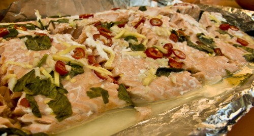 chilli, ginger and basil baked salmon-made by trin