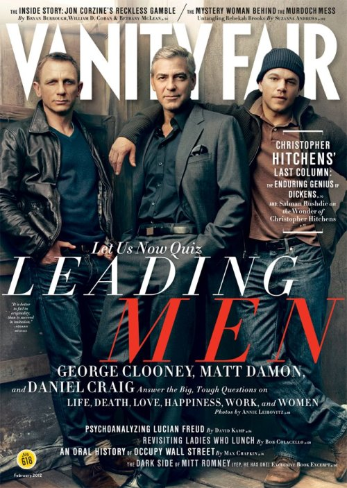 Daniel Craig, Matt Damon & George Clooney cover the February 2012 Issue of VANITY FAIR. Photo credit: Facebook/VANITYFAIRMAGAZINE