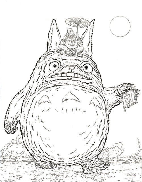 Shaolin Cowboy sitting on Totoro.