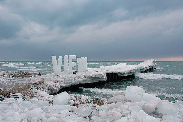 These words were made out of ice and set out in the landscape and left to melt. The largest project was the word VIEW which stands 6 feet high. The high winds off Lake Ontario sometimes blew individual letters over before they had time to melt.      — Ice Typography: View by  Nicole Dextras, environmental artist (via The Next Web