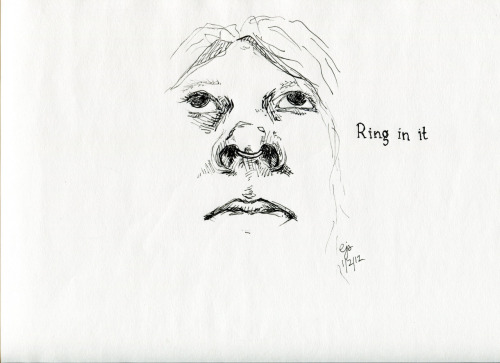 """Ring in it,"" p2 of ""Self portrait with prepositions."" Pen on paper. (Also drawn in a moving car…)"