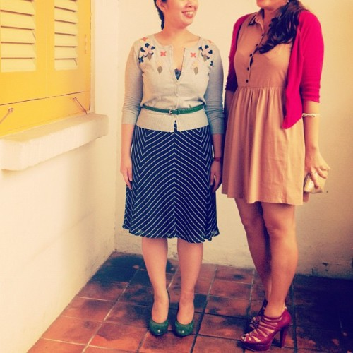 bottledsky:  Mine & @tinana's outfits for the day. I guess we were both feeling vintage this morning. (Taken with instagram)