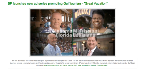 Is this real life? BP is sponsoring a commercial for tourism on the Gulf Coast? Wait a second…why would they need to do that? Everybody loves the Gulf, right? Oh…right. Before it all turned to shit. Well, BP…uh…thanks? Real Life. Not real life.