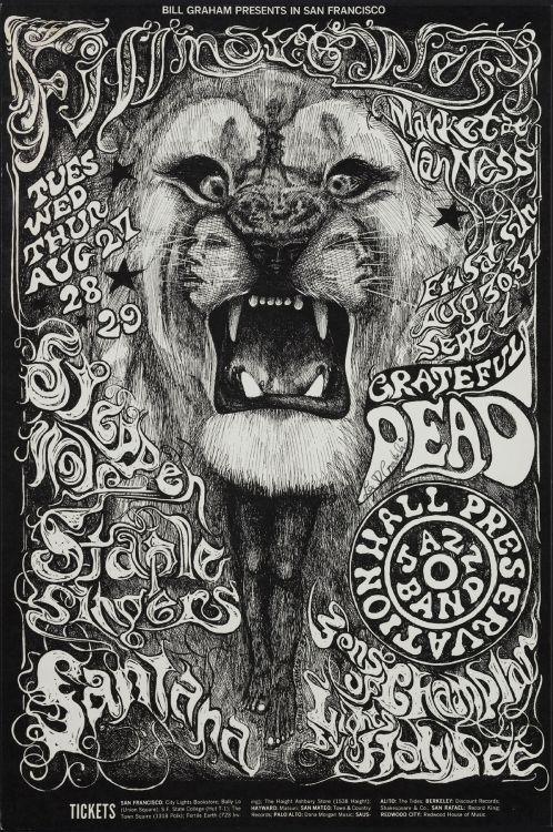 rod42:  Grateful Dead, Steppenwolf, Staple Singlers, and Santana at Fillmore West, August 27-29, 1968. Artwork by Lee Conklin .
