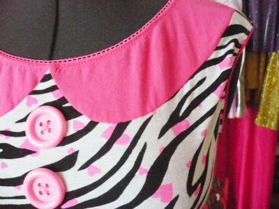 Want this pink/zebra dress with hearts all over? It's a size Large and only $65! Missalphabet.etsy.com! #etsy