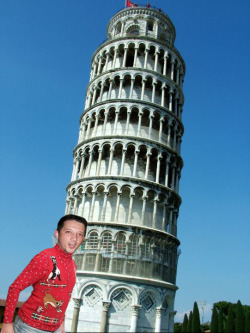 Before leaving Italy, he had to head over to check out the Leaning Tower of Pisa. He was disappointed to learn it was not made of pizza.