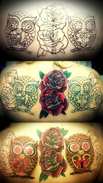 fuckyeahgirlswithtattoos:  Custom cover up back piece in progress. Roses still need to be coloured and dark shading added.Done by Jon Potter (Sacred Heart Hull, soon to be Twisted Image Custom Tattoos Hull)My tumblr: http://laurenward.tumblr.com/   THIS IS NOT CUSTOM. DON'T STEAL TATTOOS AND CALL THEM YOUR OWN! You're lucky this blog isn't aware of the fact you're passing this off as your own.