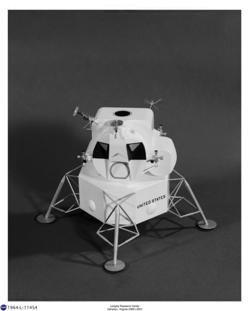 A NASA mockup of the lunar module from 1964. It's reasonably similar to the finished article.