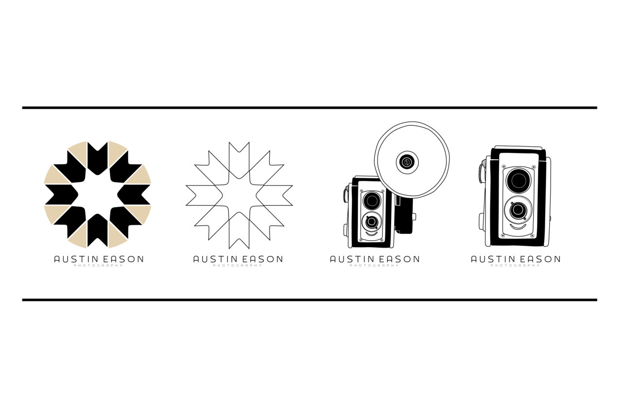 A few sample logo designs, for my friend Austin Eason, I created last night. This guy is really into collecting old school film cameras but at the same time has sort of this super simple structured style 'esk about him. A bit difficult to collide 1950's funk with modern clean.
