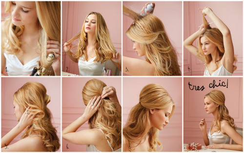 justbesplendid:  Half and Half (via)  Use a large-barrel curling iron to create loose curls all around your head, from the ears down. Part your hair in the middle, and use your fingers to loosen and separate the curls Starting halfway down the part, begin spritzing your roots with hairspray. Continue to the crown To create height and volume, tease the sprayed hair with a fine-tooth comb Use a brush to gently smooth the teased hair, and gather the sides up into a half ponytail. Secure the sides with pins, then use your fingers to gently shape the curls into place. End with shine spray. Try John Frieda Frizz-Ease 100% Shine Glossing Mist, at drugstores. Voila! A hairdo worthy of Brigitte Bardot.