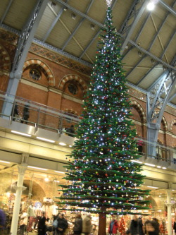 Lego Christmas tree at London St. Pancras Station.