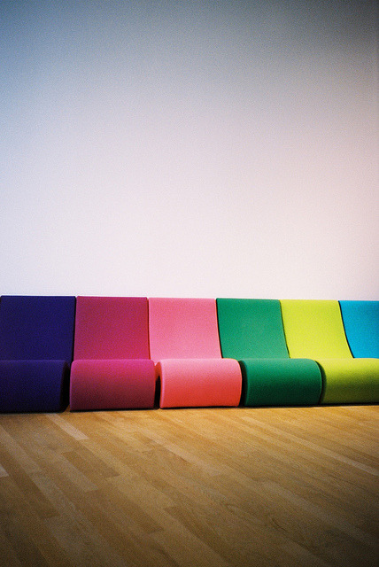Rainbow couch by dreifachzucker on Flickr.