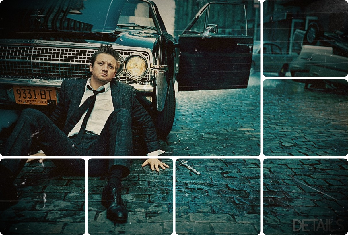 And God Said: Let There Be Renner [ X ] A small collection of all the clips I could find with Jeremy Renner singing! The man has an angel's voice, I swear to God, and if he ever makes an album I will die as a very happy girl. All the songs have lyrics, an album cover and I tried trimming them of all the extra voices. If you know of more clips of Jeremy singing, please let me know! The more the merrier.  1. American Pie (in a movie) → and this will be the day that I die; 2. My World (original song) → and the days and nights feel the same; 3. Stuck In The Middle With You (ft. Brother Sal) → but I can see that it makes no sense at all; 4. Don't Stop Believing (ft. Steel Panther) → just a city boy, born and raised in South Detroit; 5. New York State of Mind (live with Jimmy Fallon) → but I'm taking a Greyhound on the Hudson River Line;