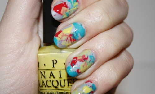 What's the splatter?  Click the photo to see the full tutorial from Polish You Pretty!