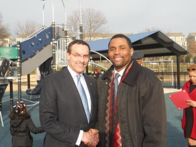 I along with Mayor Vincent Gray at the Dakota Park ribbon cutting. As president of the Gateway Community Association, I want to thank the Department of Parks and Recreation, CM Thomas & Staff, and ANC Manning for all of their assistance.