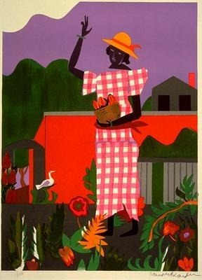 indigodreams:  Romare Bearden Title: Girl In The Garden Year: 1979