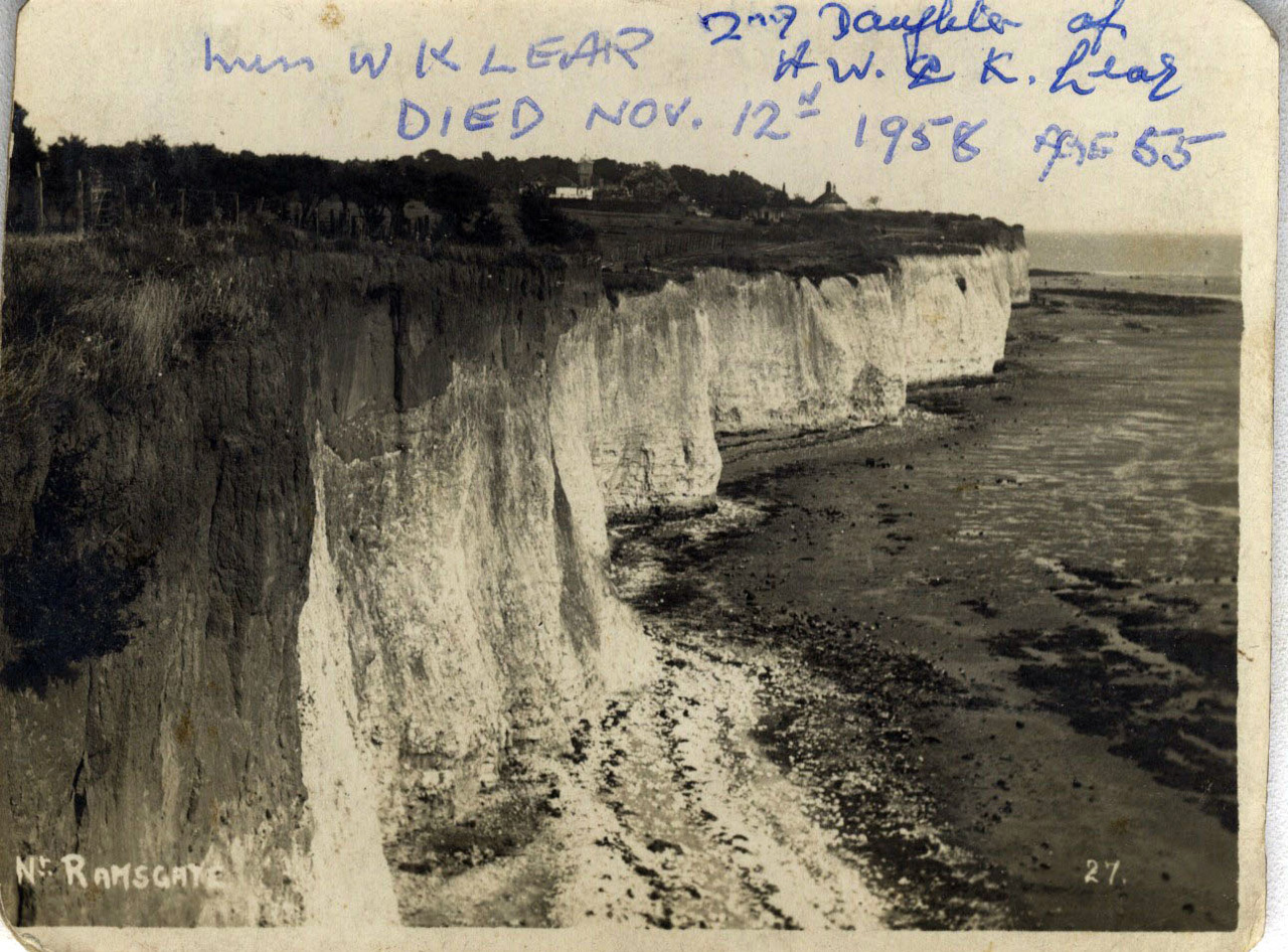 "Photograph of cliffs near Ramsgate with the annotation:""Miss WK LEAR (2nd daughter of AW & K Lear) DIED NOV 12th 1958 AGE 55"