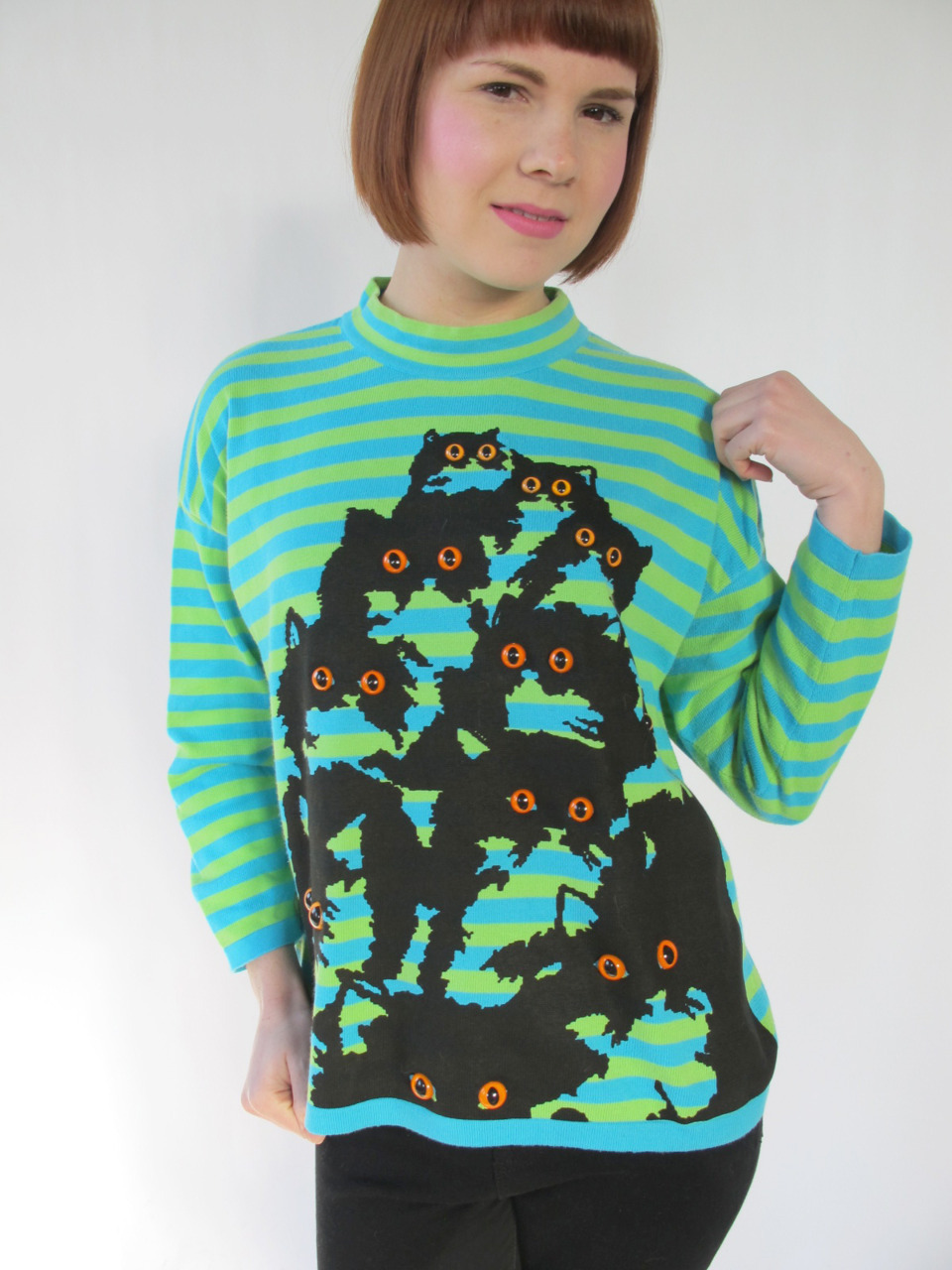 green and blue striped cat sweater by Pretty Snake http://www.etsy.com/shop/PrettySnake
