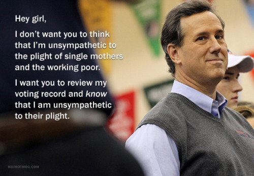 urlesque:  Anti-Women Rick Santorum is the arch nemesis of Feminist Ryan Gosling. [via slacktory: mbimotmog] Two more here: 1 2