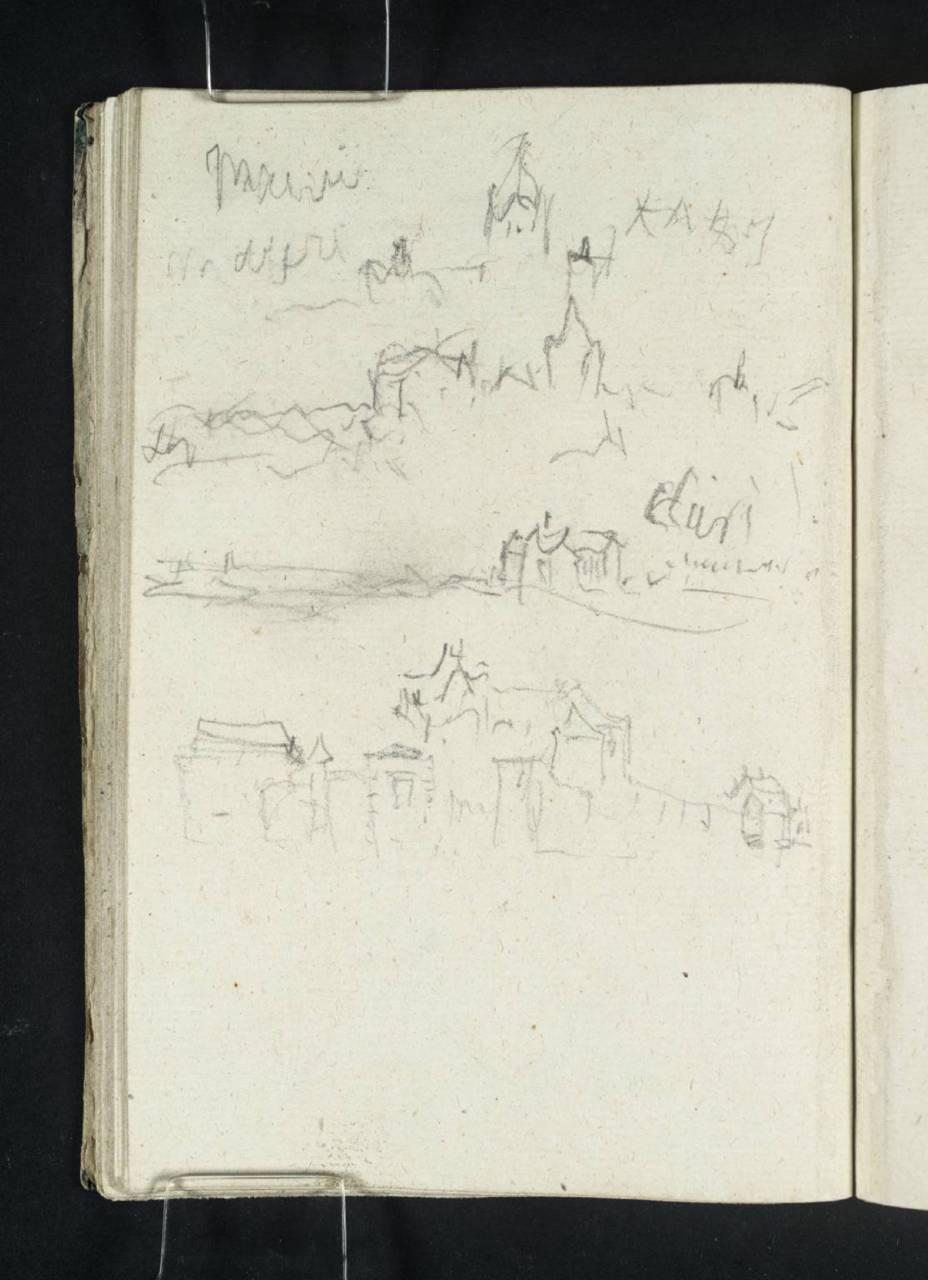 Joseph Mallord William Turner  1775-1851 Title (a) ?The Towers of  Meung-sur-Loire; (b) Towers of Meung-sur-Loire; (c) The Basilica of  Cléry-St-André; (d) ?The Church and Château at Meung-sur-Loire