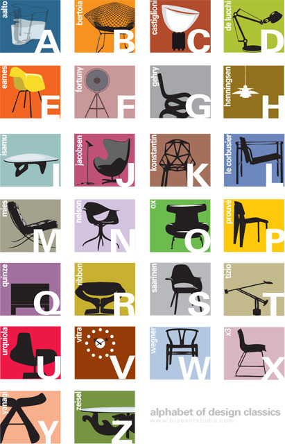 laughingsquid:  Alphabet Color, An Alphabet Poster of Modern Design Chair Classics