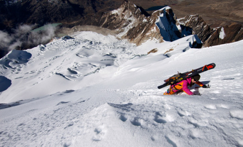 "To get this image, Pondella was on top of Huyana Potosi, a 6,000-meter peak. ""Standing on top looking down at Giulia with a wide angle lens, I was able to capture a great perspective of the mountain face we had climbed up and were about to ski back down,"" says Pondella. (via Extreme Photo of the Week — National Geographic)"