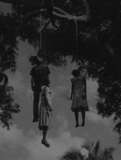 "theclayvision:  mybrainonwax:  ""Black bodies swinging in the Southern breeze, strange fruit.""  Never forget history  Someone recently told me our past, as a people, is irrelevant.  How can someone of color see images like this and be desensitized?  Your ancestors were lynched because large groups of white Americans could not deal with our strength. Today these same groups are working toward keeping their gun rights, which were created to keep slaves in order.  The gun is how the paranoid white man holds onto his ideas of power and masculinity.  He hunts us.  He, by in large, stopped lynching us.  Today he shoots.  Tell me, this is not relevant."