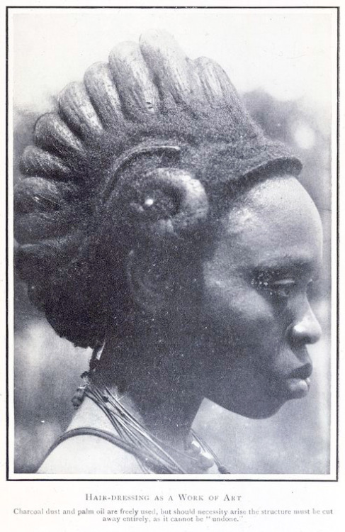 "vintageblackbeauty:   Hair - dressing as a work of art. (1921)    ""Charcoal dust and palm oil are freely used, but should necessity arise, the structure must be cut away entirely as it cannot be 'undone'"". Igbo woman, Nigeria"