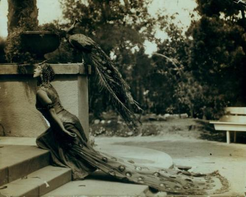 Ruth St. Denis in the Peacock Costume (1915), at the Denishawn School of Dancing which she founded.