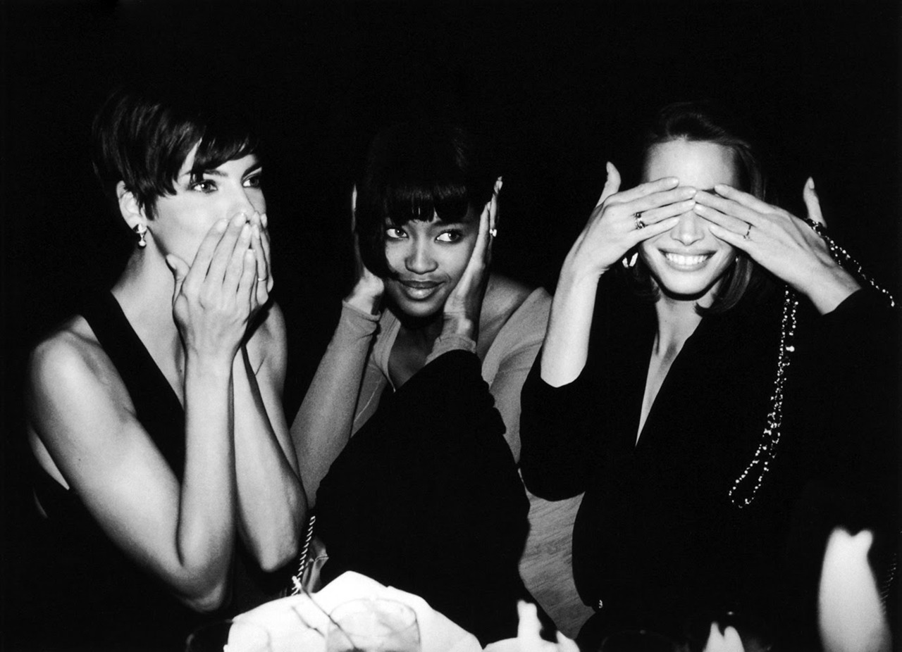 yobfrastnunt:  Speak no evil, hear no evil, see no evil. And be fabulous.  Black + white models